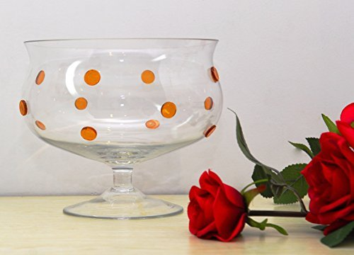 GAC Glass Trifle Footed Fruit Bowl with Gold Polkadots, Size - 8 Inch