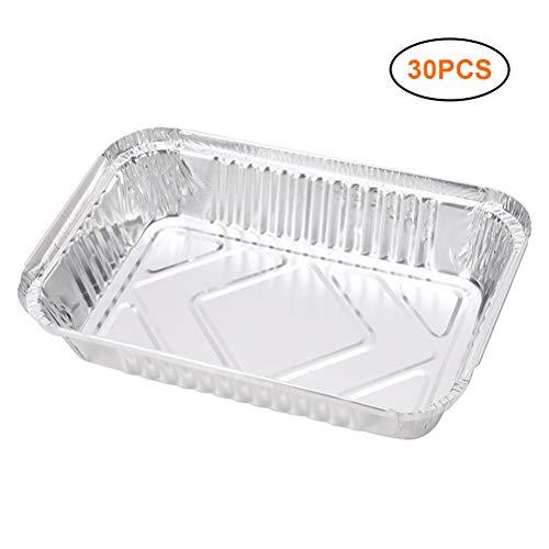 YsaAsaa - 30 bandejas desechables de aluminio de gran capacidad, 850 ml, para hornear, asar y cocinar asar, apto para parrilla de carbón y horno, hornear, hornear una tarta para llevar