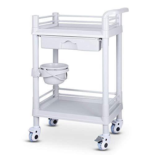 LXYZ Rollwagen, 2-Regal-Rollwagen mit Schublade, Beauty Salon SPA Servier- und Gebrauchswagen auf Rädern, ABS-Kunststoff, Weiß, 54 × 37 × 84 cm
