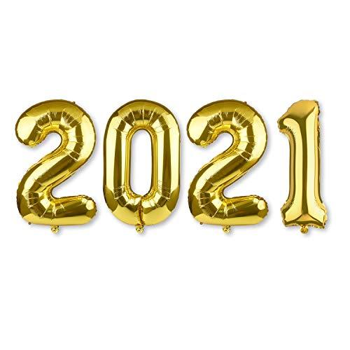 MIAHART 40 Pulgadas Gigante número 2021 Juegos de Globos Globo de Papel de Aluminio Dorado para 2021 Suministros de decoración para Fiestas de graduación
