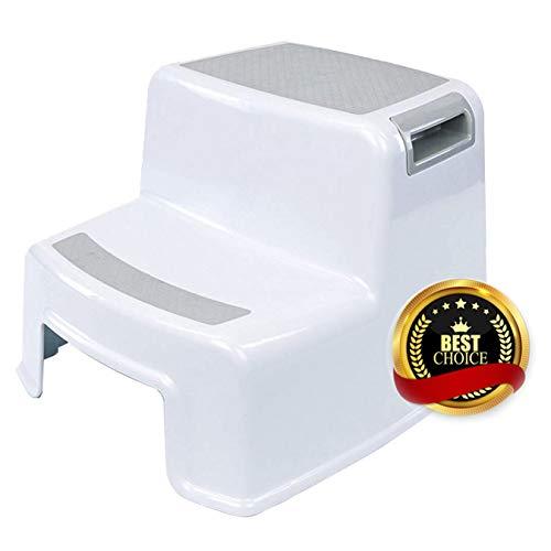 Aobetek - Taburete para niños con 2 peldaños, de plástico antideslizante, para bebés, para aprender a ir al baño, bañera, cepillarse los dientes, lavarse las manos, color blanco