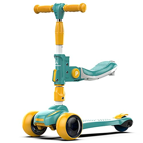 WHOJS Patinete Scooter para niños Asiento y Altura Regulables 100 kg Fácil de Cargar Construcción Ligera(Color:Verde)