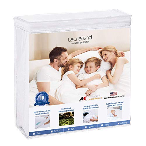 Lauraland California King Size Mattress Protector, Hypoallergenic Breathable Waterproof Mattress Cover, Vinyl Free Soft Cotton Terry Surface Protector, White