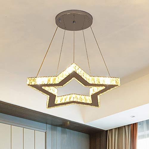 JMSTT Lámpara De Araña De Cristal a Led Creativo Pentagram Iluminación Interior Loft Colgante Luz para Corredor Pasillo Puerta Bar Dormitorio,60cm