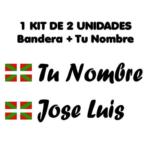 Pegatina Vinilo Bandera Pais Vasco (Ikurriña) + tu Nombre - Bici, Casco, Pala De Padel, Monopatin, Coche, Moto, etc. Kit de Dos Vinilos (Pack Fuentes 2)