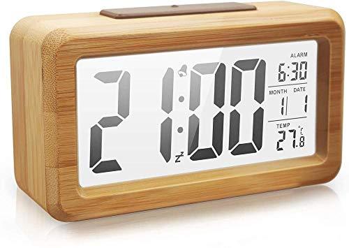 HUIQ Reloj Despertador Digital Reloj Despertador electrónico de Madera con luz de Fondo Transparente Sensor Inteligente Luz Nocturna con repetición Fecha Temperatura 12/24 Horas Concha de Roble