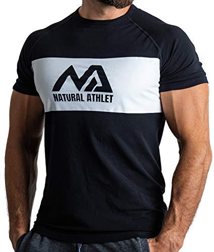 Natural Athlet Fitness Tshirt für Herren - Langes schnelltrocknendes Gym Slim-Fit T-Shirt - Krafttaining und Sport