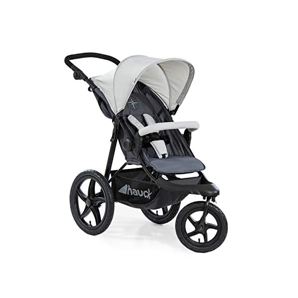 Hauck Runner, Jogger Style, 3-Wheeler, Pushchair with Extra Large Air Wheels, Foldable Buggy, For Children from Birth to 25kg, Lying Position - Silver Grey Hauck LONG USE - This 3-wheel pushchair is suitable from birth (in lying position or in combination with the 2in1 Carrycot) and can be loaded up to 25kg (seat unit 22 kg + basket 3 kg) ALL-TERRAIN - Thanks to the big air wheels - back 39cm diameter, front 30 diameter – as well to the swiveling and lockable front wheel, this jogger style pushchair can be used on almost any terrain COMFORTABLE - Thanks to adjustable backrest and footrest, sun canopy, large shopping basket, and height-adjustable push handle 1
