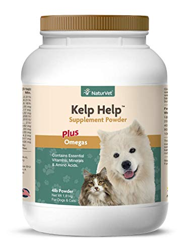 NaturVet – Kelp Help Supplement Powder - Plus Omegas – Supports Healthy Skin & Glossy Coat – Enhanced with Essential Vitamins, Minerals & Amino Acids – for Dogs & Cats (4 lb Powder)