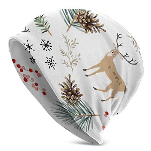 Sdltkhy Gorro de Navidad con diseño de animales de ciervo verde de...