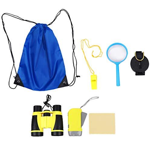 NUOBESTY 6 Piezas Kit de Exploración Conjunto Brújula Lupa Binoculares Niños Explorador Equipo para Adolescentes Niños Suministros Al Aire Libre