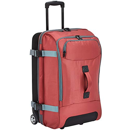 AmazonBasics Rolling Travel Duffel Bag Luggage with Wheels, Medium, Red