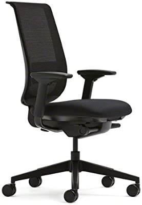 Steelcase Black Mesh Back Reply Chair with Black Fabric Seat -