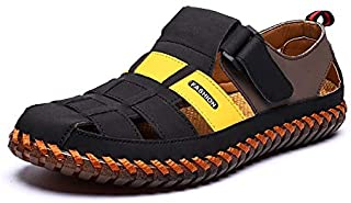 LSWL Genuine Leather Men's Sandals Summer Soft Shoes Beach Men's Sandals High Quality Sandals Slippers Bohemia Size 38-48 (Color : Yellow, Shoe Size : 48)