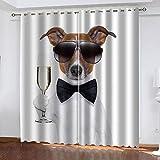 TTBBBB CortinasComedor Caballero Perro Animal Ancho 234 x Altura 183 cm Ojales Visillos de Dormitorio Moderno Ventana Salon Habitacion Cuarto Comedor Cocina Decorativa