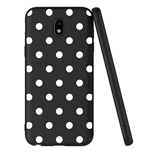 ZhuoFan Funda Samsung Galaxy J3 2017 Cárcasa Silicona Ultrafina Negra con Dibujos Diseño Suave TPU Gel Antigolpes de Protector Piel Case Cover Bumper Fundas para Movil Samsung J32017, Lunares Blanc