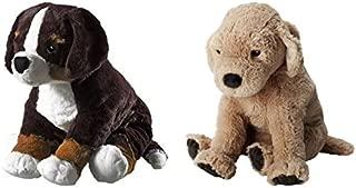 Ikea HOPPIG Puppy Stuffed Soft Toy and GOSIG GOLDEN Puppet Bundle - Includes Ikea Hoppig Bernese Burmese Mountain Dog Puppy Soft Toy (14.25 Inch) and Ikea GOSIG GOLDEN Stuffet Plush Puppy Toy