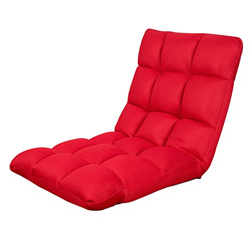 Sundale Outdoor Indoor Adjustable Soft-Brushed Polyester Cord Five-Position Multiangle Floor Chair, Red