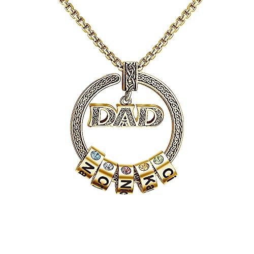Collar de papá personalizado con piedra de nacimiento, con texto de nombre grabado, regalos del día del padre para colgantes de iniciales de papá y esposo