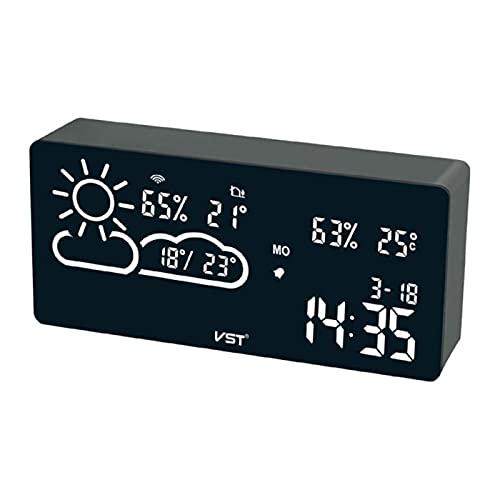 SPFCJL Estación meteorológica Digital Reloj de Alarma Termómetro Termómetro LED Temperatura Humedad Aplicación Smart WiFi Pronóstico Monitor Reloj (Color : White)