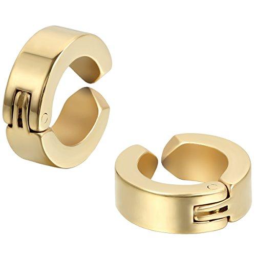 JewelryWe Pendientes Hombres Mujer, Pendientes de Aro de Huggie, Non Piercing Acero inoxidable, Dorado 1 Par (con bolsa de regalo) (dorado)