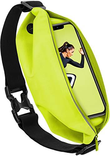 moex Sport Gürteltasche Leicht & Wasserfest - für alle TP-Link Neffos | In- & Outdoor Fitness Handytasche, Lauftasche, Hüfttasche, Jogging Handy-Hülle, Laufgurt, Bauchtasche Joggen, Neon Gelb