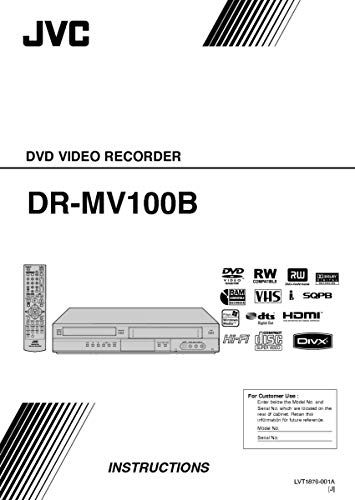Reprint for JVC DR-MV100B DVD Recorder Owners Instruction Manual
