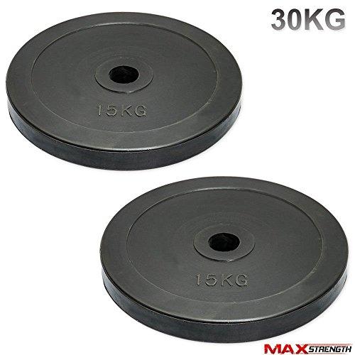 Discos de pesas olímpicos de MaxStrength de goma, para gimnasio o culturismo (5 cm, 15 kg) (personalizable), color negro, tamaño 15kg x 2 = 30
