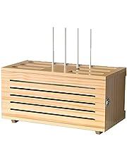 Caja para Router y Cables Estante de Almacenamiento de Madera Multimedia Set-Top Box Rack Soporte Router TV Decodificador Almacenamiento de Cable A