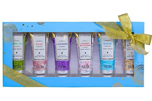 Spa Luxetique Hand Cream Gift Set with Shea Butter, 6 Travel Size Nourishing Hand Cream Set, Moisturizing & Hydrating Hand Lotion for Dry Hands, Ideal Gift Sets for Women or Her,1.02oz Tube.