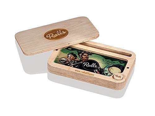 Rolls Secret Box | Rolling Tray mit Geheimfach | Holz Drehunterlage Mischschale mit Fächern | Hohe Qualität Tablet, Bauunterlage, Rolltablet