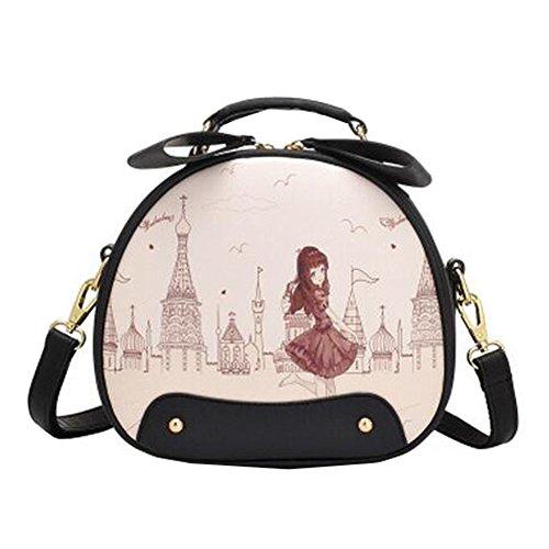 mignons dames belle ronde imprime sac à bandoulière,Élégant unique épaule sac à bandoulière,mode bourse,