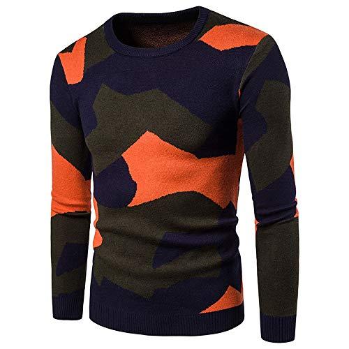 Lzcaure - Cárdigan de punto para hombre, diseño de camuflaje, para hombre con cuello redondo (color: A, tamaño: XL)