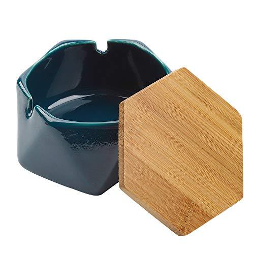 Keramik-Aschenbecher mit Deckel Zigarrenaschenbecher Zigarrenaschenbecher für Outdoor, Haus, Büro, Wohnzimmer (dunkelblau)