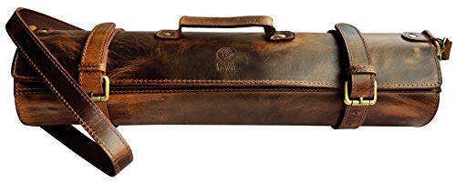 Rustic Town Leather Knife Roll Storage Bag | Elastic and Expandable 11 Pockets with Tool Pouch | Adjustable/Detachable Shoulder Strap | Travel-Friendly Chef Knife Case Roll (Brown)
