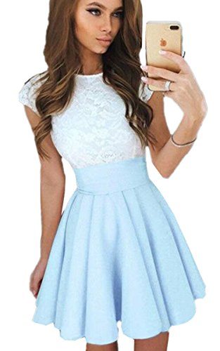 ECOWISH Women Lace A-line Sleeveless Pleated Cocktail Party Skater Skirt Dress
