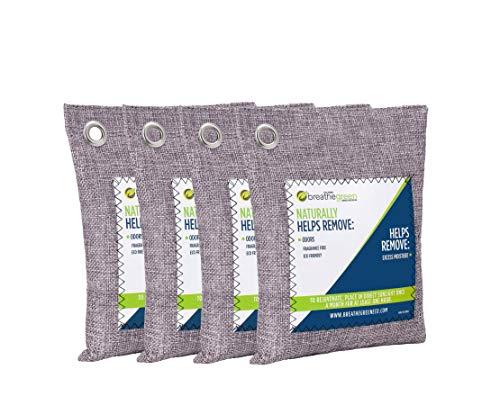 Breathe Green Bamboo Charcoal Odor Eliminator Bag (4-Pack), Activated Charcoal Odor Absorber, Natural Freshener Removes Odors and Moisture, Odor Eliminator for Home, Pets, Car, Closet, Basement, RV