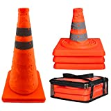 18 inch Collapsible Traffic Cones 3-Pack with Travel Case, Portable Pop Up Reflective Safety Cones(3 Orange Road Cones), Foldable Parking Cones Multipack