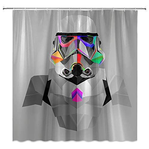 CHENGHUI Gray Shower Curtain Abstract Upper Body Patterns Impenetrable Helment Colored Gas Mask Bathroom Decor Set with Hooks,71X71 Inchs,Polyester Green Purple
