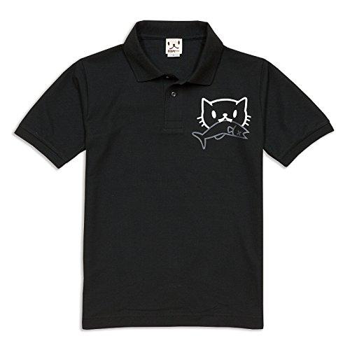 SCOPY (スコーピー) ネコ好き のための 猫柄 ポロシャツ お魚くわえたどらねこさん ブラック M