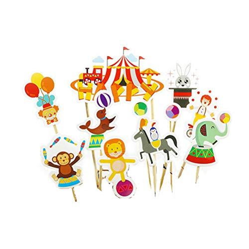 Amosfun 33 Unids Circus Cake Topper Payaso Magdalena Decoración Circo Malabares Fiesta de Cumpleaños Decoración Baby Shower