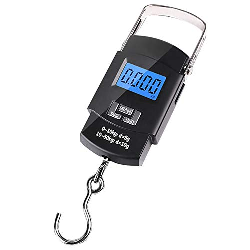 Varenyam Electronic Portable Hanging Weight Scale [50KG/110Lb] with Digital Blue Backlight LED Screen and Stainless Steel Fishing Hook (Black)