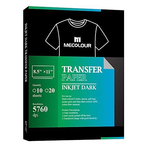 MECOLOUR papel de transferencia de inyección de tinta para planchar, 10 hojas para tela oscura, 20...