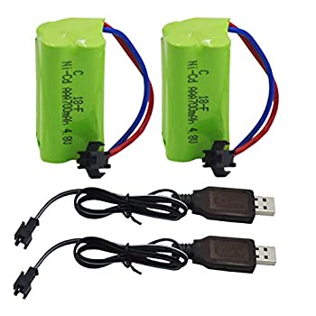 Blomiky 2 Pack AAA 4.8V 700mAH Battery Pack and 2 Cable for Amicool Threeking 1/28 Scale RC Stunt Truck C128 Battery 2