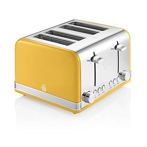 Swan 1600W 4 Slice Retro Toaster, Yellow, Defrost, Cancel and Reheat Functions, Independent Browning Controls, ST19020YELN