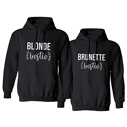 Soul Couple Matching Best Friends Hoodies for 2 Girls BFF Pullover Sweaters Blonde Brunette Sweatshirts Black