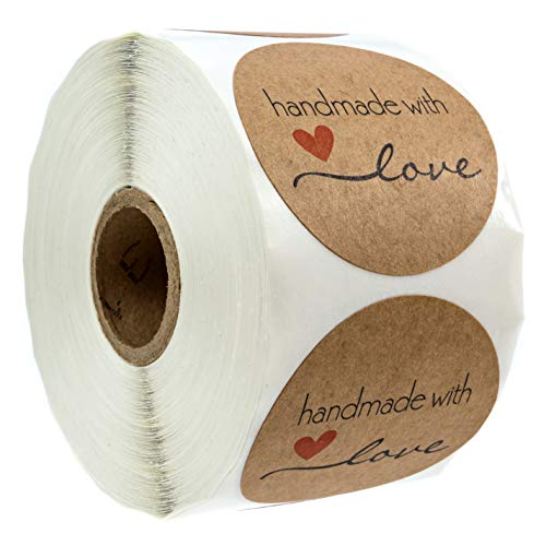 """2"""" Inch Round Natural Kraft Handmade with Love Stickers / 500 Labels per roll"""
