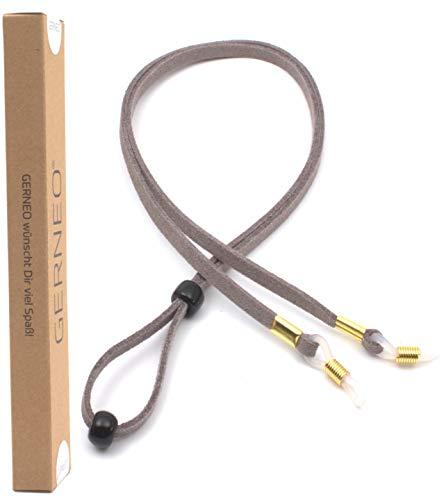 GERNEO® - DAS ORIGINAL - Premium Leder Brillenband aus PU Wildleder Unisex für Lesebrille & Sonnenbrille - diverse Sommerfarben (Lavendelgrau)