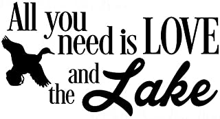 Wall Decor Plus More WDPM3847 Stickers All You Need Is Love and the Lake Camper Décor Wall Lettering Decals, Black, 23x12-...