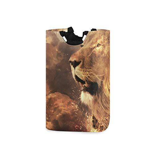 N\A Wäschekorb Faltbarer Eimer kollabiert Wäschekorb Künstlerischer Löwen-Waschbehälter für Heimorganisator Kinderzimmer Aufbewahrung Babykorb Kinderzimmer